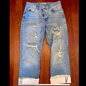 New Sara Boyfriend Jeans with Bleached Bottom